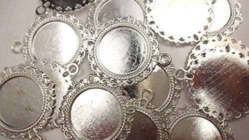 【HARU雑貨】シルバー ミール皿 10枚セット/レース 花 カン付 銀 s32/セッティング レジン アクセサリーパーツ