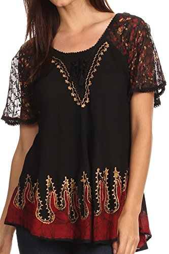 Sakkas 786 - Cora Relaxed Fit Batik Design Embroidery Cap Sleeves Blouse/Top - Black/Gold - OS
