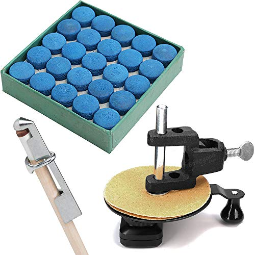 Gimiton Rapid Cue Top Sander Repair Billiard Pool Stick Tip + Aluminum Pool Cue Clamp + 50Pack 13mm Pool Billiard Cue Tips, Repair Pool Billiard Cue Stick