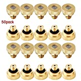 Scorpiuse 50 Pack Brass Misting Nozzles for Cooling System Greenhouse Landscaping Dust Control Irrigating System 0.012'' 10/24 UNC (50 pack)