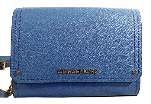 Michael Kors Pebbled and Embossed Leather Hayes Small Clutch Crossbody Bag (Denim)