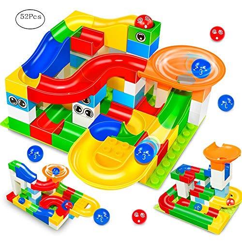 Marble Run Building Blocks Construction Toys Set Puzzle Race Track STEM Learning for Kids (52 Pcs) -