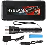 Hybeam HB-500 Ultra-Bright 500 Lumens LED Tactical Flashlight with Three Modes, Adjustable Zoom, Rechargeable Battery, Car and Wall Chargers, and Carrying Case