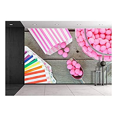 Old Fashioned Candy Jar Full of Pink Peppermints Being Distributed into Individual Candy Bags - Removable Wall Mural | Self-Adhesive Large Wallpaper - 66x96 inches