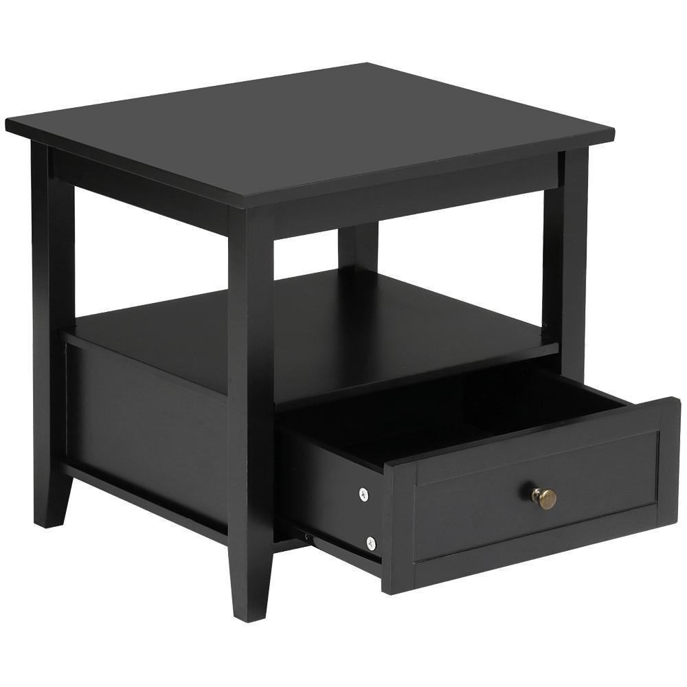 Yaheetech Black Wood End Table/Night Stand with Drawer and Open Shelf for Storage Bed/Chair/Sofa Side Table by Yaheetech (Image #4)