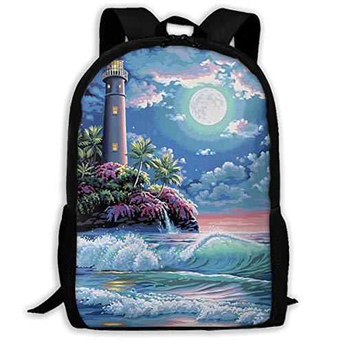 SARA NELL School Backpack Beautiful Gouache Lighthouse Surf Night Landscape View Bookbag Casual Travel Bag For Teen Boys Girls