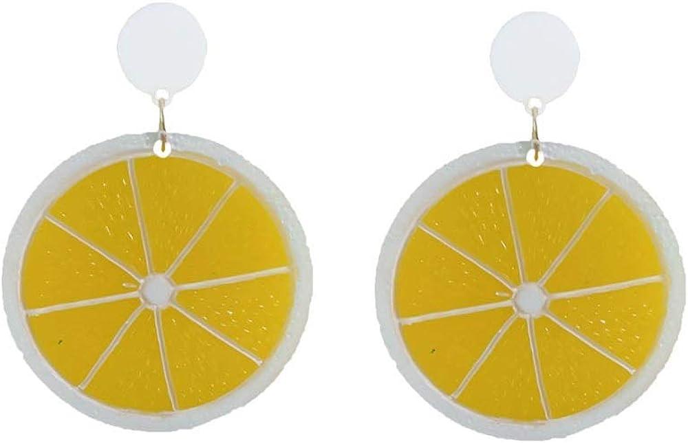 Sweet Lemon Drop Earrings Acrylic Half Slice Personality Lemon Slice Dangle Earrings Fashion Jewelry For Women Girls