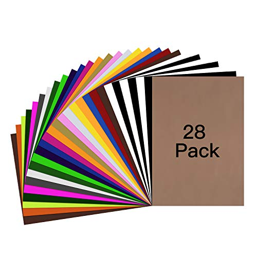 HTV Heat Transfer Vinyl Bundle  28 Pack 12quotx10quot Assorted Color Sheets for Cricut Silhouette Cameo or Other Heat Press Machine  Iron On Vinyl for DIY TShirts Clothing Garment Easy to Weed by YRYM HT