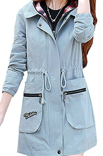 S&S Women's Casual Cotton Fake Two Hooded Drawstring Long Trench Coat Jacket