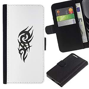 Celtic tatuaje cuadrilla Blanco Negro- la tarjeta de Crédito Slots PU Funda de cuero Monedero caso cubierta de piel Para Apple (5.5 inches!!!) iPhone 6+ Plus / 6S+ Plus