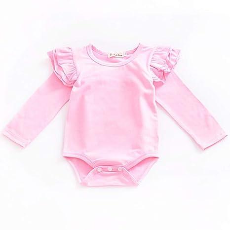 1PC bebé niña otoño primavera mosca manga larga pelele rosa rosa Talla:70