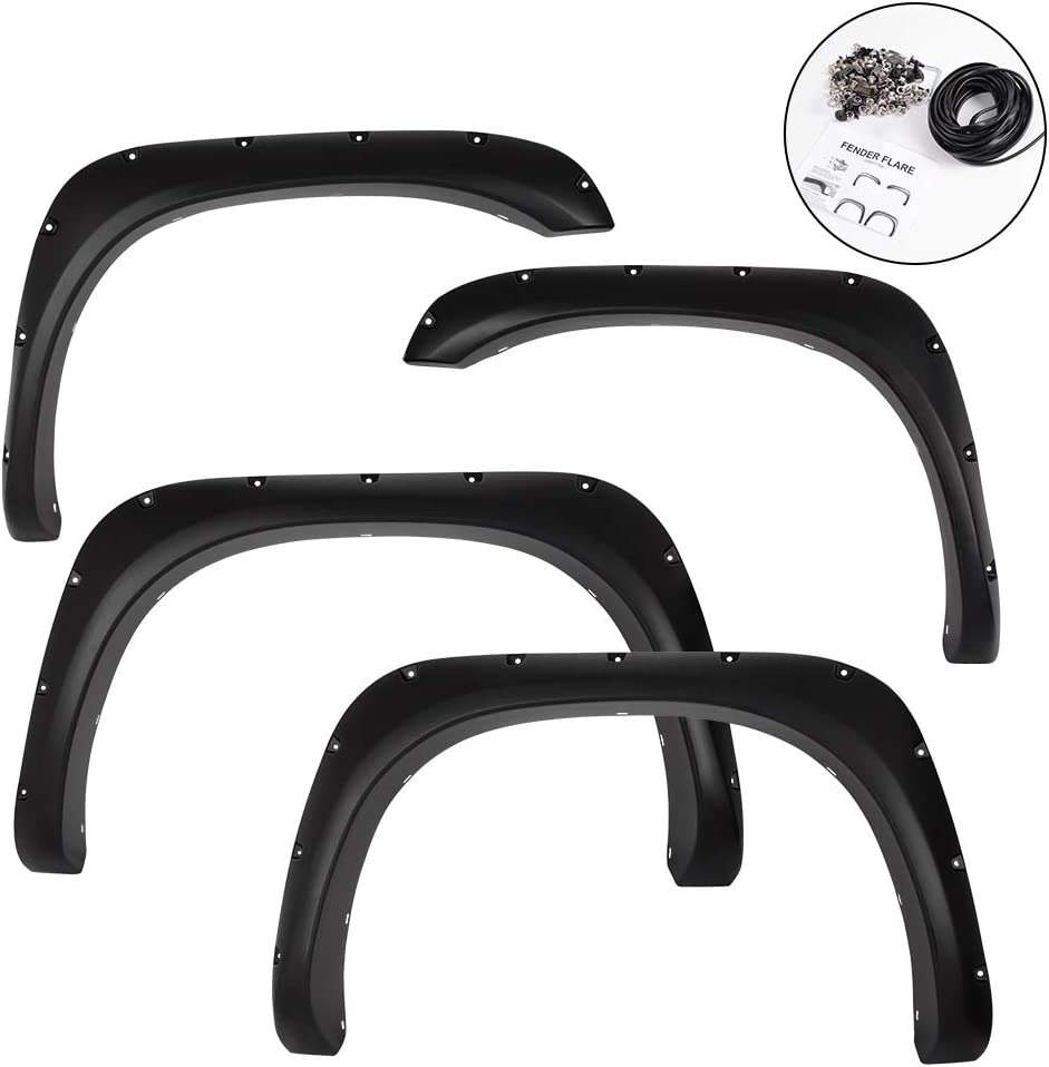 VRracing 4 PCS Fender Flares for Toyota Tundra 2014 2015 2016 2017 2018 2019 Textured Front Rear Right Left Wheel Cover Protector