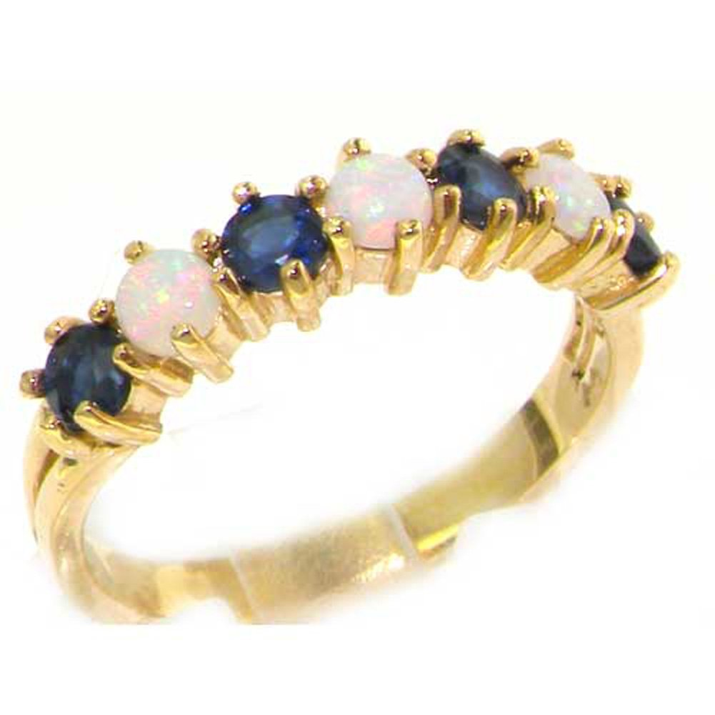 14k Yellow Gold Natural Opal & Sapphire Womans Eternity Ring - Sizes 4 to 12 Available