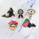 5pcs/Set Cartoon Actress Shark Whale Film Meh Medal Tears Eye Brooch Pin Denim Jacket Pin Badge Jewelry Gift for Kids Women Girl