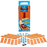 Hot Wheels Track Builder Straight Track with Car,Orange and Blue,15 Feet