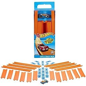 Hot Wheels- Track Builder Confezione da 15 Rettilinei e Veicolo Incluso, Multicolore, BHT77 1 spesavip