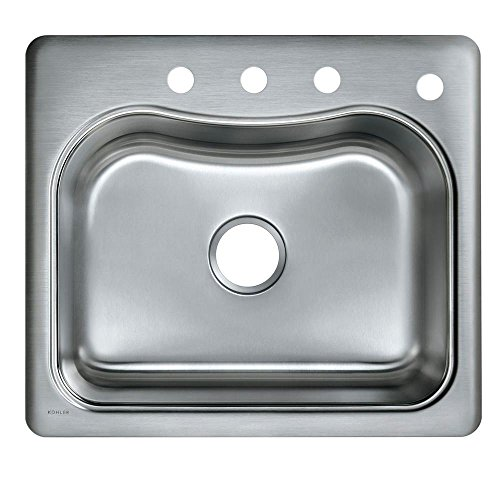 KOHLER K-3362-4-NA Staccato Single-Basin Self-Rimming Kitchen Sink, Stainless Steel