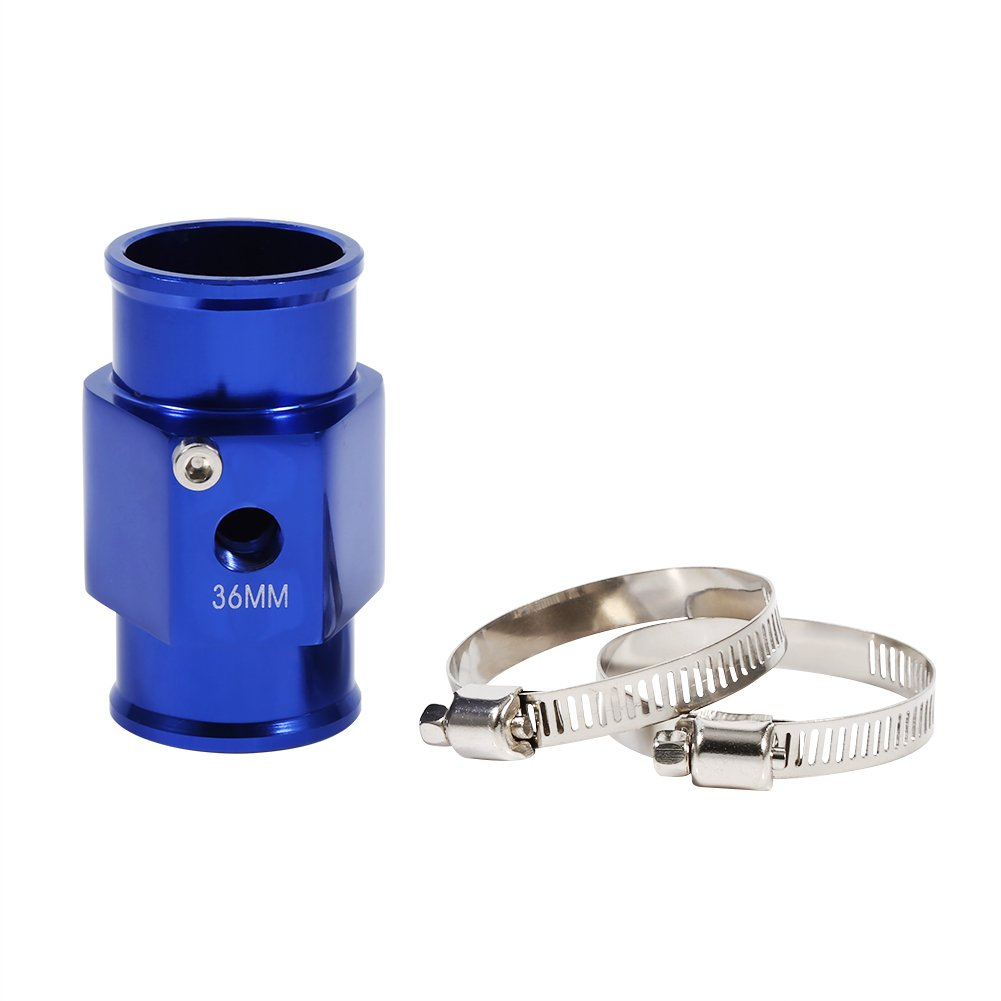 36mm Water Temperature Gauge Joint Pipe Temp Sensor Gauge Radiator Hose Adapter Blue