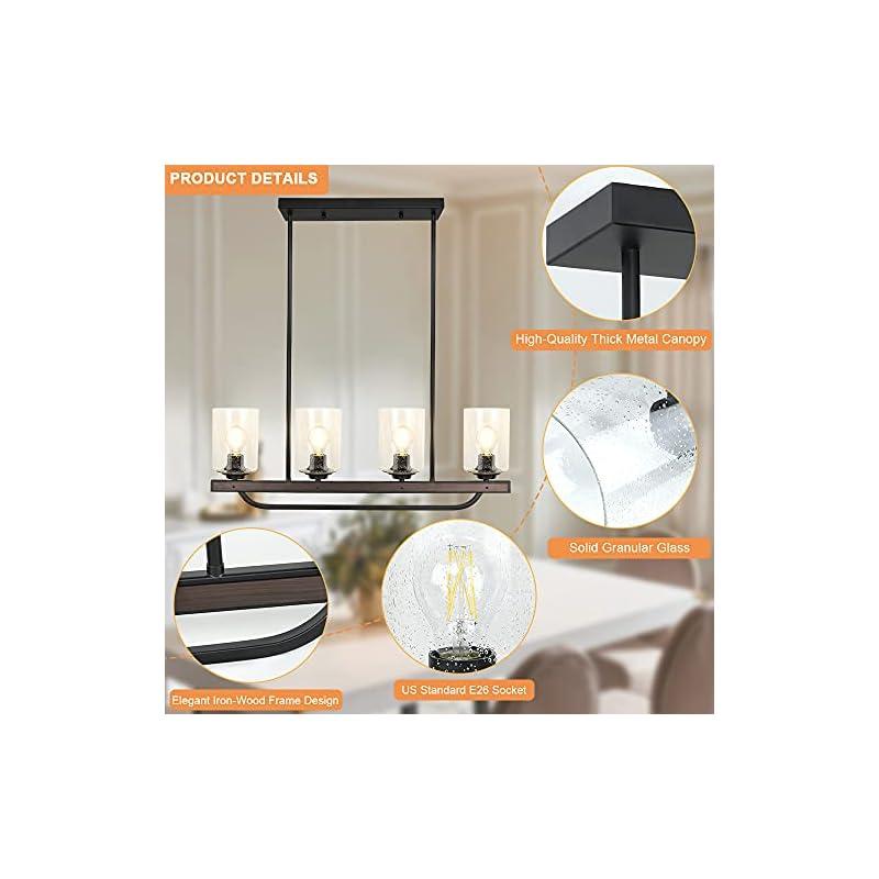 Depuley 4-Light Adjustable Kitchen Island Pendant Light Fixture, Rustic Metal Wood Chandelier Lighting Fixture Hanging…