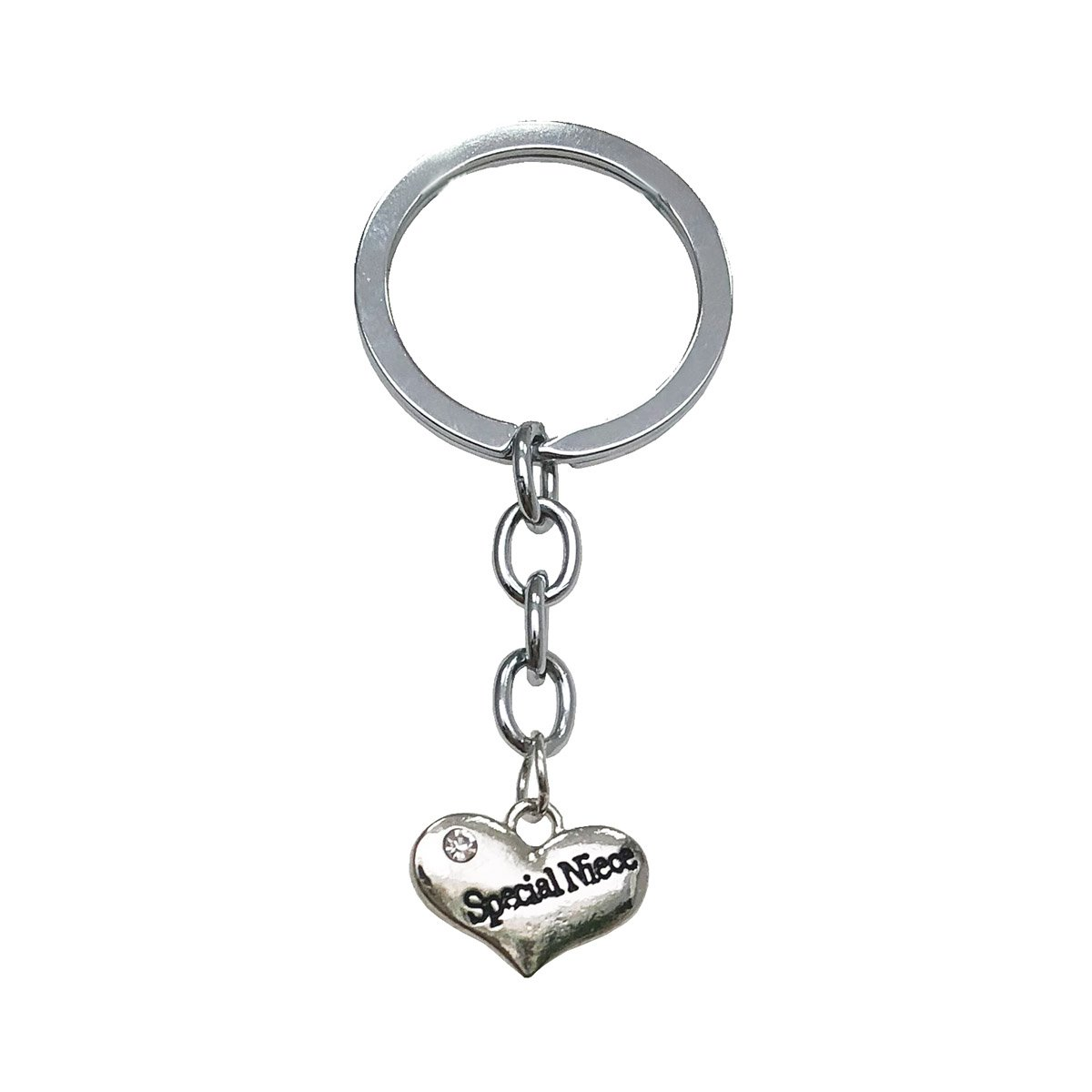 MayLove Father's Day Gifts White Rhinestone Heart Shape Daddy Keychain Keyring For Dad Family Love ML-01-0020