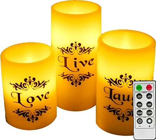 Made with Real Wax Realistic Led Candles EGI Set of 3 Flickering Real Wick Flameless Candles with Remote Control and Timer