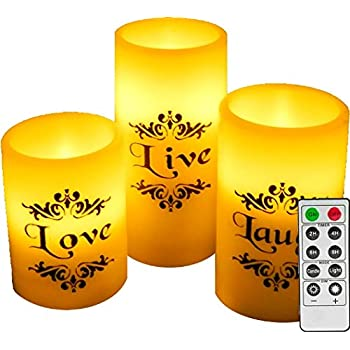Amazon Com Egi Set Of 3 Flickering Flameless Candles