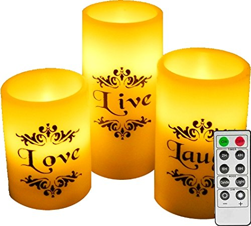 EGI set of 3 flickering flameless candles