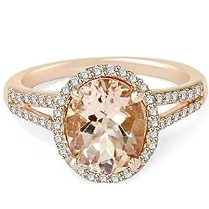 3.00CT Morganite & Diamond Engagement Ring 14K Rose Gold Halo Split Shank
