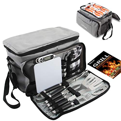 grilljoy BBQ Grill Tools Set with Grey Insulated Cooler Bag - All-in-one Barbecue Picnic Cooler Bag - 12pcs Stainless Steel Camping Utensil Kit - Perfect Grilling Accessories Set Gift