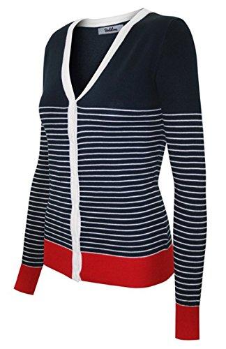 Stripe V-neck Cardigan (BodiLove Women's Long Sleeve Button Up V Neck Knit Cardigan Navy Ivory L(SW775-Stripe))