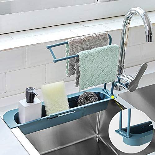 con supporto per sapone e sapone Supporto telescopico per lavello da cucina in spugna regolabile ShawFly in spugna a doppio strato colore: grigio
