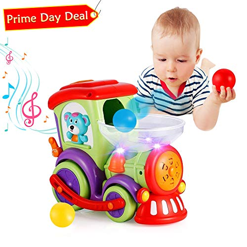 VATOS Baby Toy Car, Drop and Go Train Toys,Infant Toy Car with 3 Balls Light Talking Music,Toddler Boy Toys for 1 2 3 4 Year Old,Early Educational Toys Train for 1.5+ Year Old Boys Girls