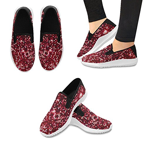 InterestPrint Red Sparkle Glittering Sequins Womens Slip-On Loafer Shoes Canvas Fashion Sneakers Multi 1 yb3tXR