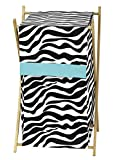 Baby and Kids Turquoise Funky Zebra Clothes Laundry Hamper by Sweet Jojo Designs