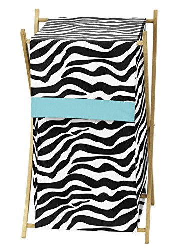 Baby and Kids Turquoise Funky Zebra Clothes Laundry Hamper by Sweet Jojo Designs (Zebra Print Laundry Basket)