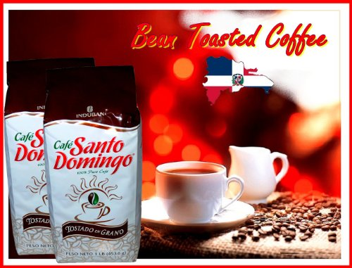 Santo Domingo Whole Roasted Bean Dominican Coffee 2 Bags / Pounds ()