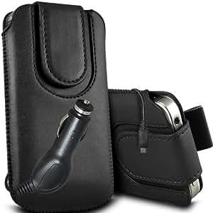 ONX3 Samsung Galaxy Pocket Neo S5310 Leather Slip cuerda protectora magnética de la PU Pull In Pouch Case Quick Release y 12v Micro USB cargador de coche (Negro)
