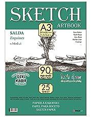 Sketchbook SALDA A3 Tutkallı 90 gr. Beyaz 25 yaprak
