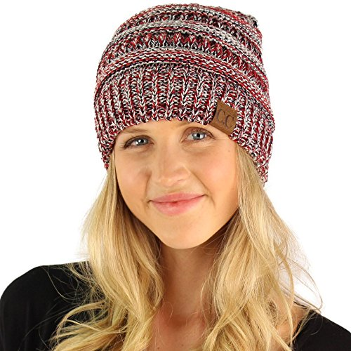 CC Quad Color Warm Chunky Thick Soft Stretch Knit Slouch Beanie Skull Hat Silver