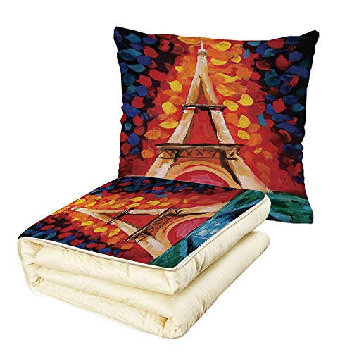 - Quilt Dual-Use Pillow Eiffel Tower Eiffel Tower Paris France Romantic Night with Colorful Lights Oil Painting Multifunctional Air-Conditioning Quilt Multicolor