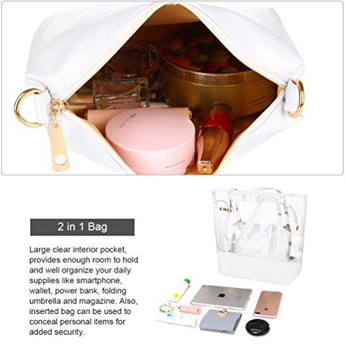 Shoulder Clear Beach Bag Bag Women White Vbiger Handbag Tote Waterproof 0wx5qH6pv