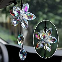 Beautiful Crystal Flower Car Pendant Lucky Hanging Ornament Car Interior Decoration Car Accessories (Colorful)