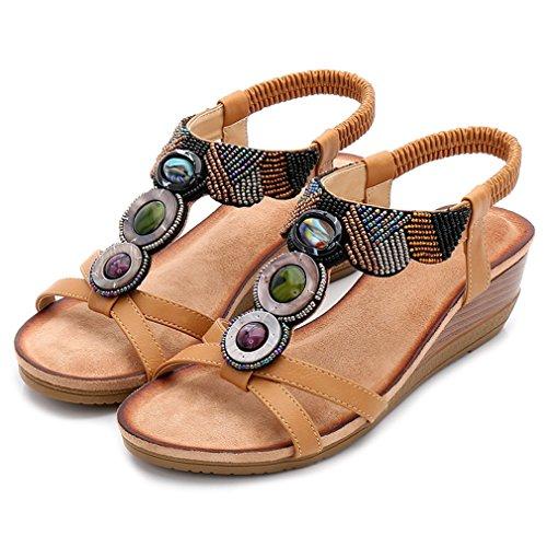 (CYBLING Women's Wedge Sandals Platform Beaded Slingback Bohemian Summer Shoes Tan)