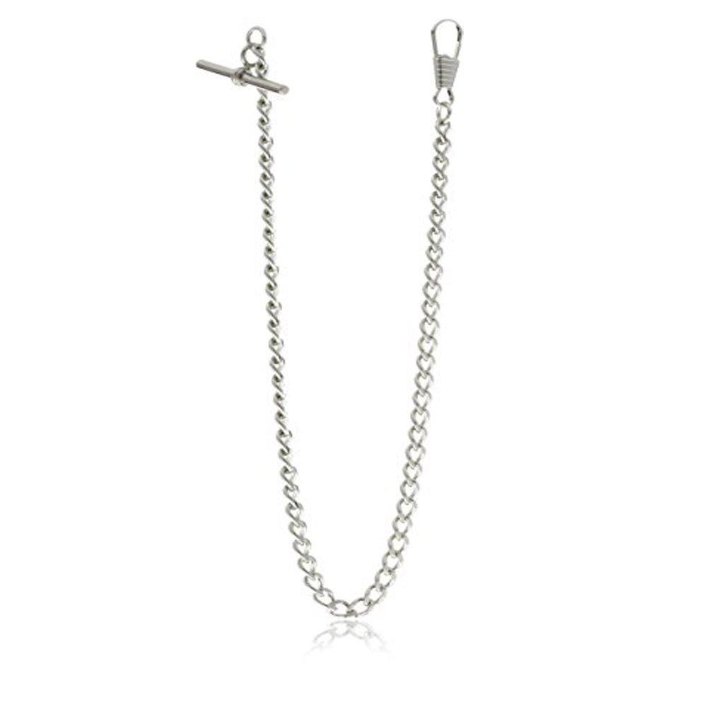 BOSHIYA Decent Chrome-Plated Vest Waistcoat T-Bar Pocket Watch Chain Silver Tone