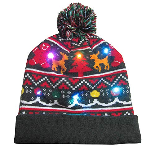 2018 Christmas LED Light-up Knit Hat Beanie Winter Warm Cap Cuekondy Women Men Children Ugly Christmas Sweater Party Hat with Pom Pom (E, 22x22cm)
