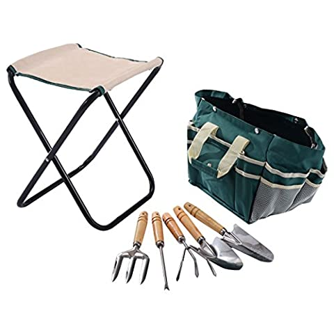 Gardening stainless steel 7 pcs lightweight and portable external garden tool bag set folding stool tools gift pockets for easy tool - Island Company Blue Oxford
