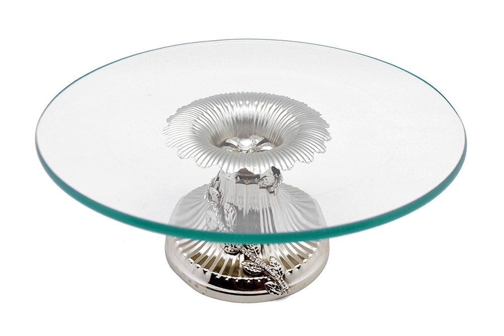 Elegant Glass Tabletop Platter Dish Tray on Metallic Silver crystal accented Base 11X5