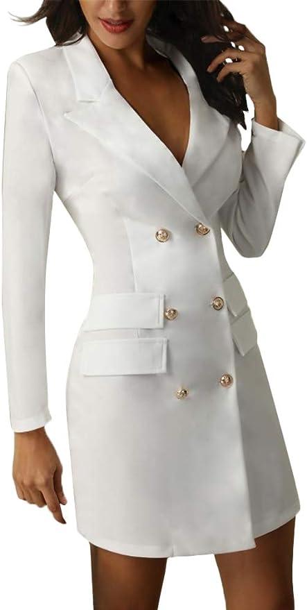 ORANDESIGNE Blazer Donna Manica Lunga V Neck Abito da Giorno Doppio Petto Abiti Tubino Casual Vestito Tailleur Puro Colore Vestiti Mini