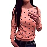 Gillberry Women Long Sleeve Star Print Sweater Pullover Sweatshirt Jumper Tops (L, Pink)