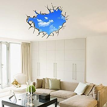 3d Blauer Himmel Weisse Wolke Fenster Ansicht Vinyl Kinderzimmer